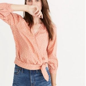 Madewell Star Scatter Wrap Tie Coral Shirt M